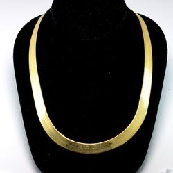 Classy 20-Inch Herringbone-Link Necklace in Gold