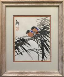 Colorful Birds Perching On Branch Oriental Woodblock