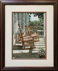 Beautiful Signed Mixed Media of Porch Rocking Chairs