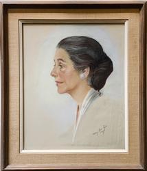 Beautiful Signed Female Portrait Pastel on Paper