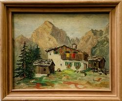 Original Oil on Board of a Cabin in The Mountains