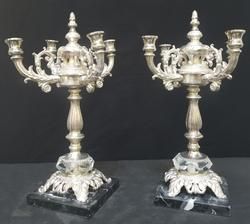 Tall Silver Plated Candle Holder Set with Marble Base