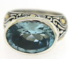 Blue Topaz 18kt and Sterling Silver Ring