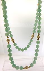 Fabulous Yellow Gold and Jade Beaded Necklace