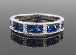 Created Blue Sapphire and Diamond Band Style Ring