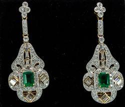 Incredible 18KT Emerald & Diamond Earrings