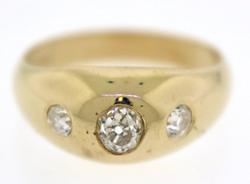 Fancy 3 Stone Euro Cut Diamond Dome Ring