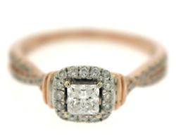 Stunning Princess Cut Diamond w Halo Ring