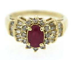 Beautiful Oval Ruby Baguette Diamond Ring