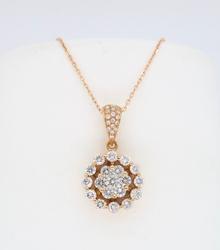 18K Rose Gold Cluster Diamond Pendant Necklace