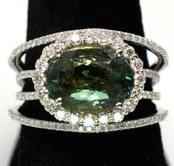 Green Sapphire & Diamond Ring, Platinum