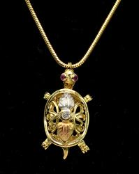 Adorable Tri-Tone Turtle Necklace in 14KT Gold