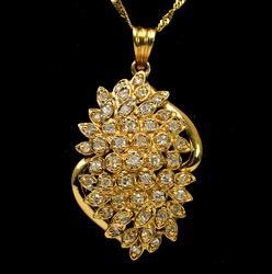 Flashy 14KT Diamond Cluster Pendant on 24-Inch Chain