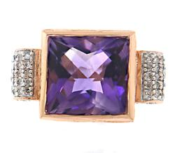 Stunning Amethyst and Diamond Cocktail Ring