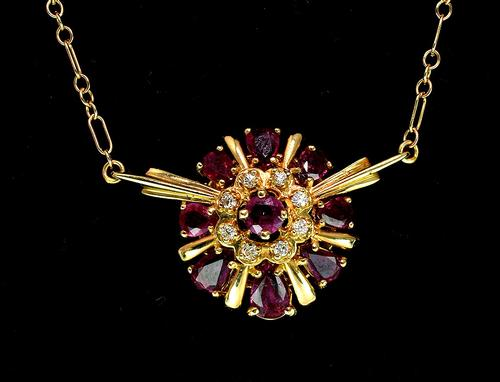 Regal Ruby & Diamond Necklace in 14KT Gold