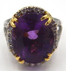 Gorgeous Amethyst and Diamond Ring