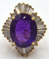 Fabulous Amethyst and Diamond Vintage Ring