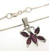 Set of Sterling Silver Red Stone Necklace & Ring