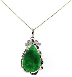 Green Jade Sterling Silver Necklace