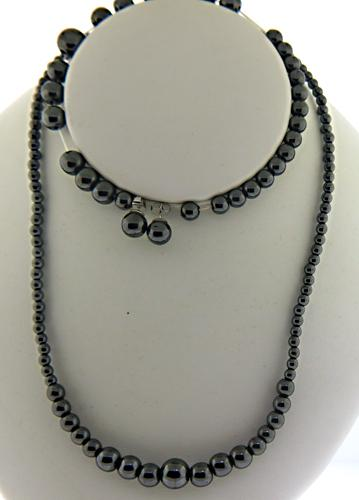 Set of Hematite Necklace Bracelet and Earrings