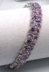 18KT 2.98CTW Diamond & 14.33CTW Pink Sapphire Bracelet