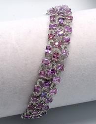 18KT 17.03CTW Pink Sapphire & 2.23CTW Diamond Bracelet