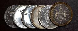 6 Canadian silver dollars