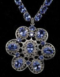 Very Heavy 31.20CTW Tanzanite & 2.10CTW Diamond Necklace