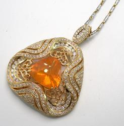 Bold 5.77CT Fire Opal & 2.24CTW Diamond Necklace in 14KT