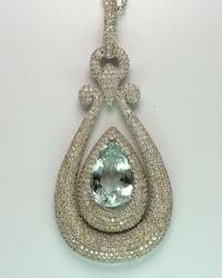 Jaw-Dropping 14KT 10.9CTW Aquamarine and 7.59CTW Diamond Necklace