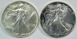 Better Superb Gem BU 1986 & 1994 $1 Silver Eagles