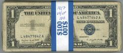 Pack of 100 Series of 1957 $1 Silver Certificates