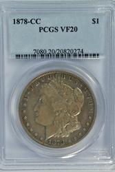 Scarce 1878-CC Morgan Silver Dollar. PCGS VF20