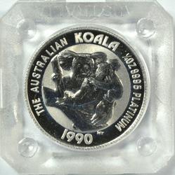 Gem BU 1990 $25 Australia pure Platinum Koala. Capsule