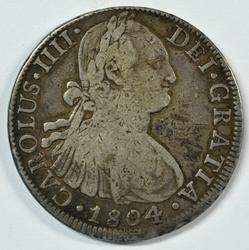 Scarcer 1804 Mexico 8 Reales Silver Piece