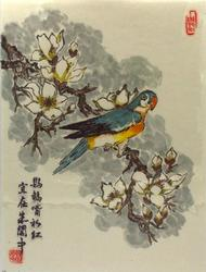 Parrot, Original Japanese  painting signed