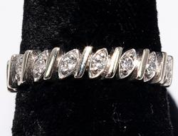 14KT White Gold Band with Diamonds
