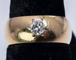Diamond Solitaire on Wide Band, 14KT