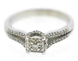 Beautiful White Gold Diamond Cluster Ring