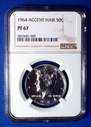 1964 Accent Hair Kennedy 50c PF67, NGC