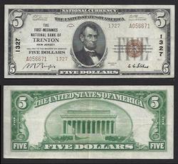 $5 1929 First Mechanics Trenton NJ Type ll National