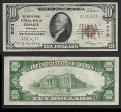 $10 1929 United States Nlt bank Omaha NE