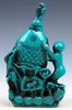 Baby Holds Carp Fish Turquoise Glazed Snuff Bottle