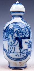 Blue and White Painted Snuff Bottle Porcelain