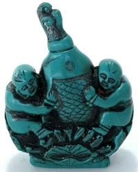 Turquoise Old Chinese Children & Fish Snuff Bottle