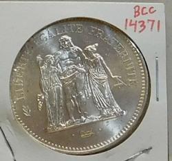 Silver 900 fine France 50 Francs 1976
