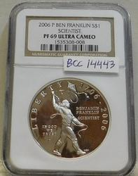 2006-P Franklin, Scien PROOF Sil Dol NGC PF-69 UCam