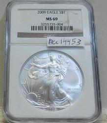 2009 Uncirculated Silver Eagle  NGC MS-69