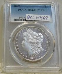 1887 Morgan Dollar PCGS MS-64 DMPL, Spectacular !