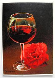 E. Denis GLASS WITH RED ROSE Hand Signed